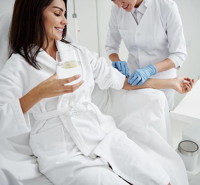 Woman getting IV Hydration Spa Treatment